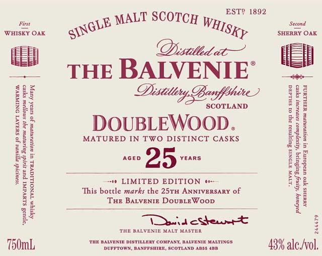 The Balvenie DoubleWood Aged 25 Years - Front Label