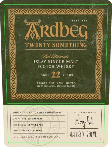 Ardbeg Twenty Something 22 Year Old - Front Label