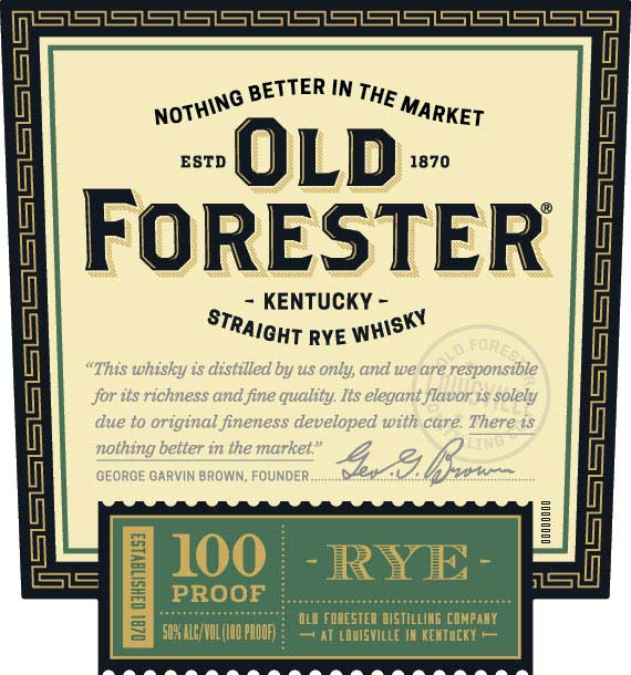 Old Forester 100 Proof Straight Rye Whisky - Front Label