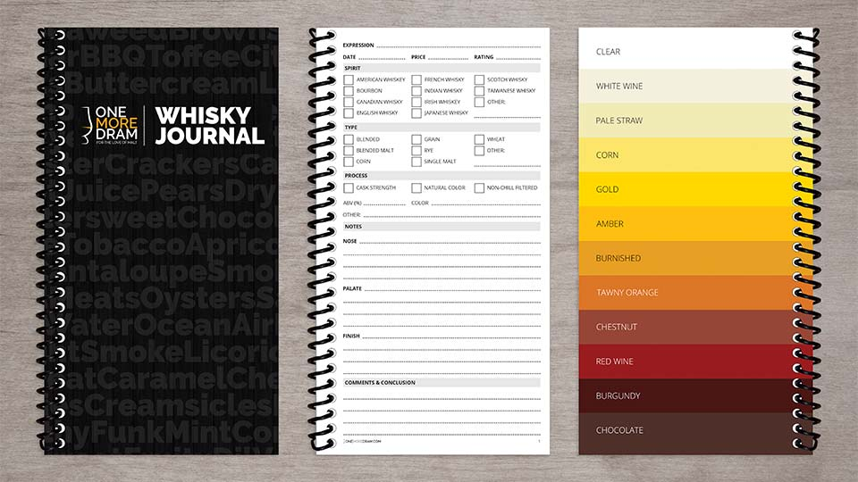 Whisky Journal tasting notebook front cover, inside cover and note taking sheet