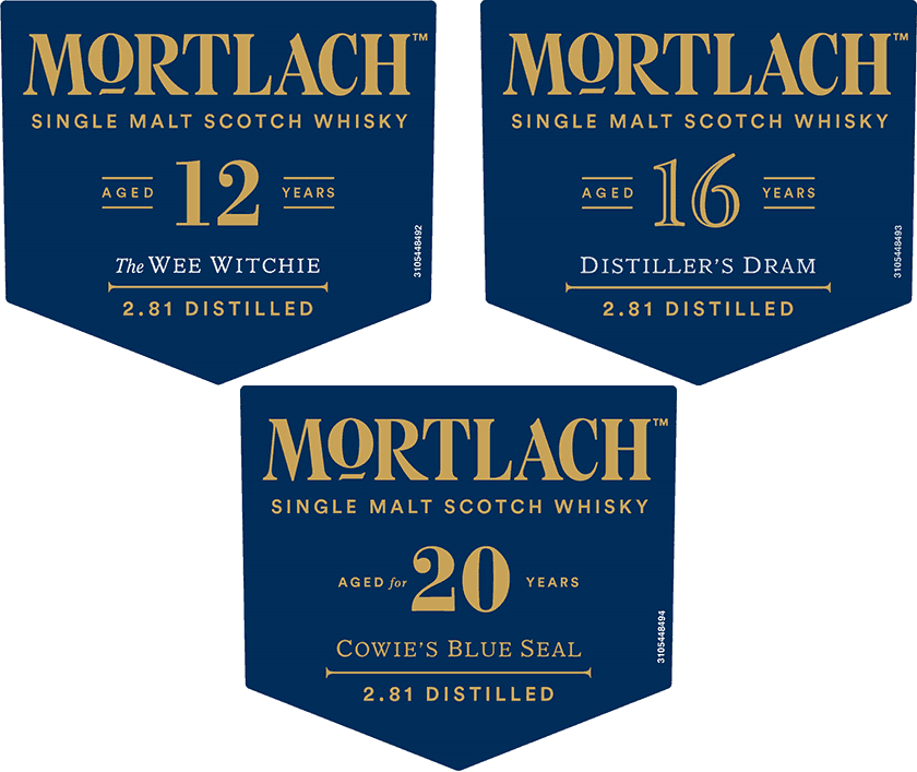 Mortlach 12, 16, and 20 Year Olds - Front Labels