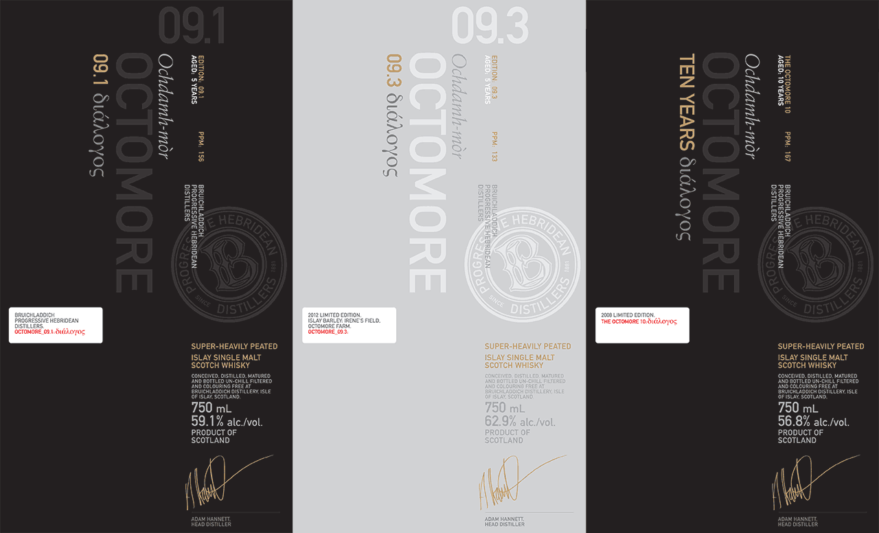 Octomore 09.1, 09.3, and 10 Third Edition - Labels