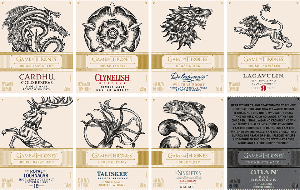 Game of Thrones Single Malt Scotch Whisky Collection - Front Labels