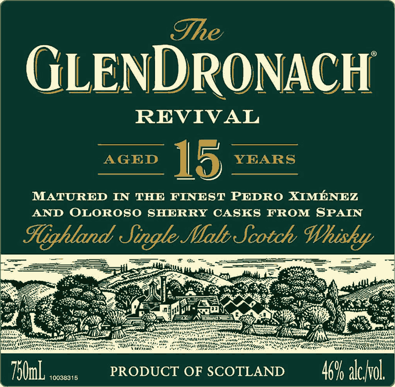 Glendronach Revival 15 Year Old - Front Label