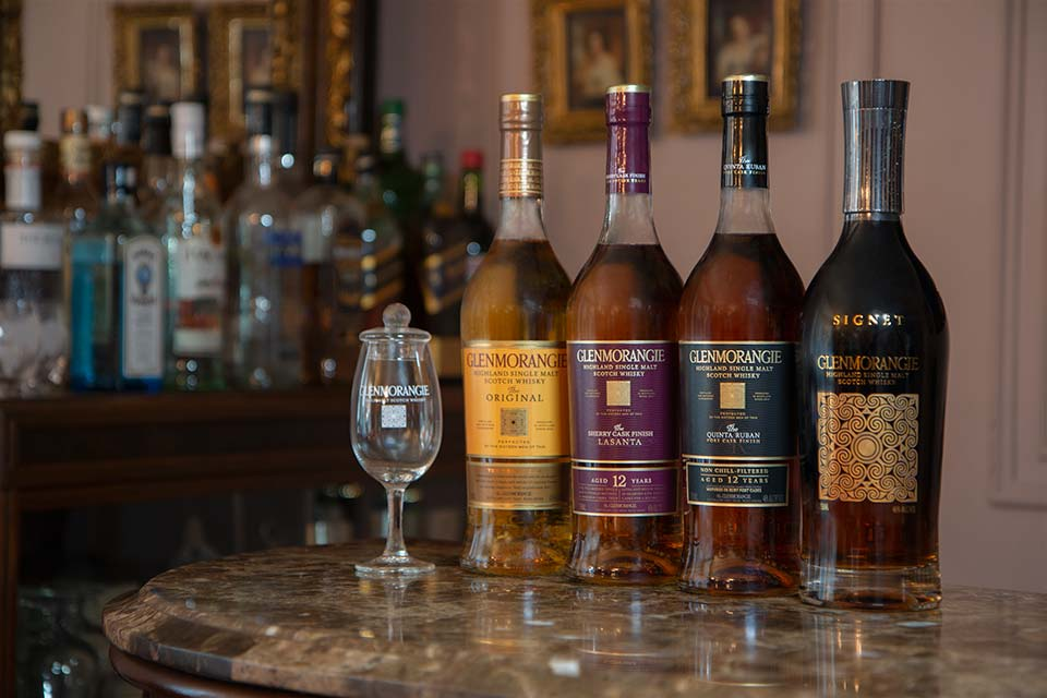 Glenmorangie The Original, Lasanta, Quinta Ruban, and Signet