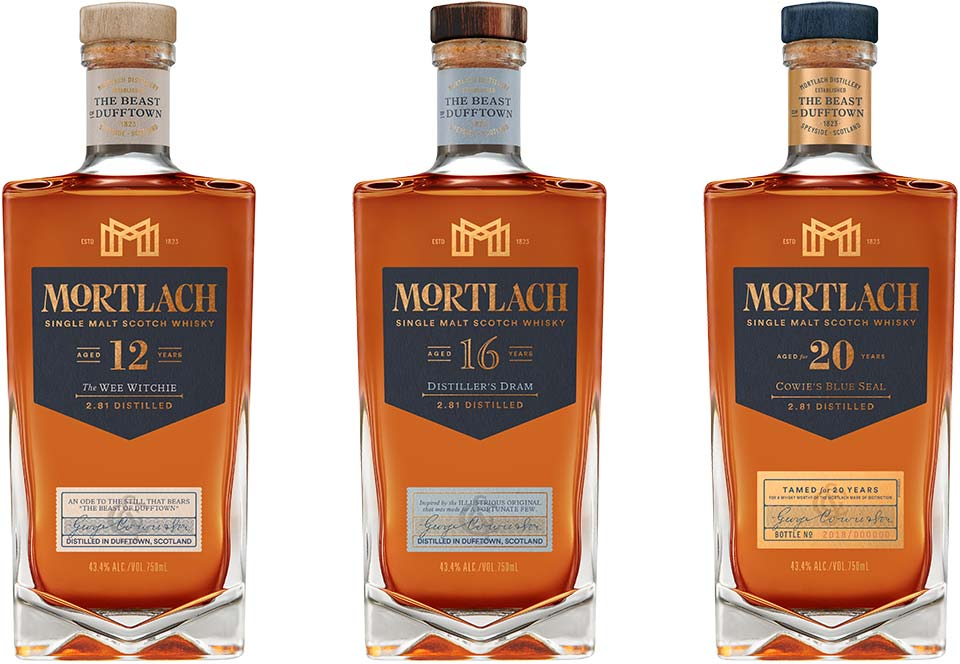 Mortlach 12 Year Old The Wee Witchie, Mortlach 16 Year Old Distiller's Dram, and Mortlach 20 Year Old Cowie's Blue Seal