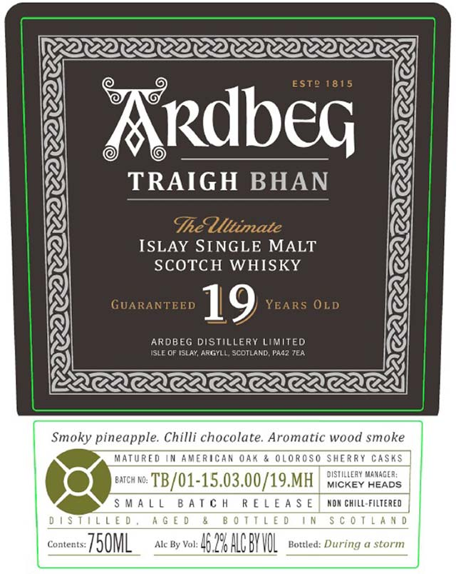 Ardbeg Traigh Bhan 19 Year Old - Front Label