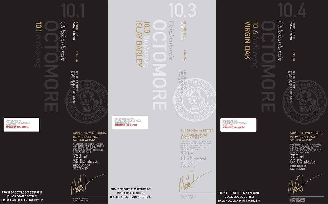Octomore 10.1, 10.3, 10.4 - Labels